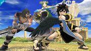 Pit Sombrío, Palutena y Magno en el Templo de Palutena SSB4 (Wii U).jpg