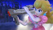 Peach sosteniendo una Nintendo scope en el campo de batalla SSB.4 (Wii U).jpg