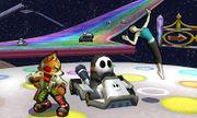 Fox, la Entrenadora de Wii Fit y los Shy Guys en la Senda Arco Iris SSB4 (3DS).jpg