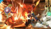 Roy usando Hoja llameante contra Link SSB4 (Wii U).jpg