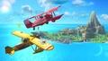 Pikachu y Fox en el escenario de Pilotwings SSB4 (Wii U).jpg