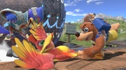 Banjo y Kazooie atacando a Falco en Gran Bahía SSBU.jpg