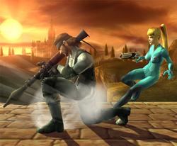 Samus Zero esquivando el Ataque Smash lateral de Snake con una finta hacia el lado derecho.