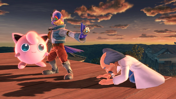 Falco mostrándole su reflector al Dr. Wily SSBU.png