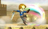 Espadachín Mii realizando el Tajo revés en Super Smash Bros. for Nintendo 3DS