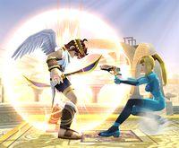 Samus Zero atacando Pit con el paralizador en Super Smash Bros. Brawl.