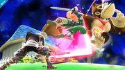 Shulk atacando a Link y Donkey Kong en Mario Galaxy SSB4 (Wii U).jpg