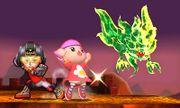 Karateka Mii y Aldeana junto al Rey de las Tinieblas SSB4 (3DS).jpg