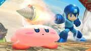 Mega Man atacando a Kirby con su Crash Bomber SSB4 (Wii U).jpg
