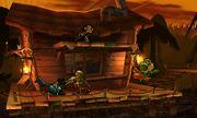 Yoshi, Link, Lucario y Sheik en la Jungla Jocosa SSB4 (3DS).jpg