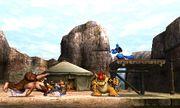 Donkey Kong, Fox, Lucario y Bowser en el Valle Gerudo SSB4 (3DS).jpg