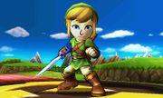 Espadachín Mii con el gorro y el traje de Link en el Tren de los Dioses omega SSB4 (3DS).jpg