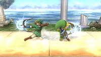 Link y Toon Link usando el Arco del Héroe en Super Smash Bros. para Wii U