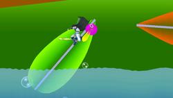 Un Hanenbow siendo impulsado por la hoja cerca del agua.
