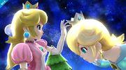 Peach admirando la corona de Estela SSB4 (Wii U).jpg