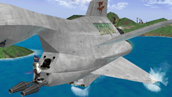 Great Fox surcando el mar. Tanto sus alas como el hangar tocan el agua.