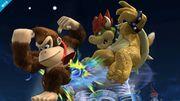 Donkey Kong atacando a Bowser con su ataque aéreo hacia atrás SSB4 (Wii U).jpg