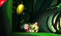 Olimar junto a un escarabajo de oro iridiscente SSB4 (3DS).jpg
