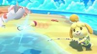 Canela usando la Caña de pescar en Super Smash Bros. Ultimate