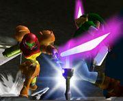 Samus y Link luchando con espadas láser SSBM.jpg