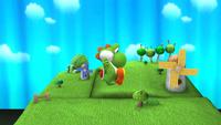 Yoshi iniciando el Pisotón en Super Smash Bros. para Wii U
