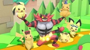 Incineroar junto a varios Pikachu y Pichu en Paper Mario SSBU.jpg
