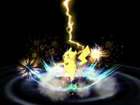 Pikachu usando Trueno en Super Smash Bros. Brawl