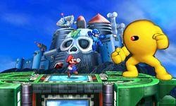 Mario y Mega Man junto con Yellow Devil en el Castillo de Wily SSB4 (3DS).jpg