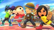 El Aldeano junto a los Combatientes Mii en Sobrevolando el pueblo SSB4 (Wii U).jpg