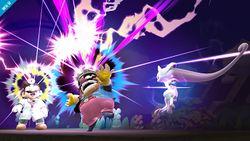 Mewtwo usando Onda Mental contra Wario y Dr. Mario en Super Smash Bros. para Wii U.