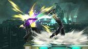 Alcance del ataque Smash hacia arriba de Cloud SSB4 (Wii U).JPG