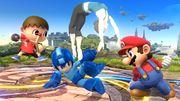 La Entrenadora de Wii Fit junto al Aldeano, Mega Man y Mario SSB4 (Wii U).jpg