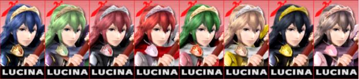 Paleta de colores de Lucina SSB4 (3DS).png