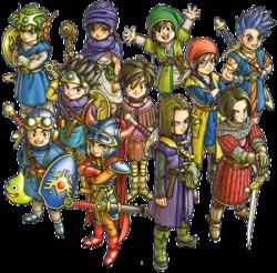 Ilustración del artbook Dragon Quest Illustrations: 30th Anniversary Edition, mostrando a los protagonistas de los 11 juegos principales.