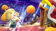 Canela lanzándole una fruta al Rey Dedede SSB4 (Wii U).jpg