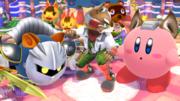 Meta Knight junto a Fox y Kirby en Sobrevolando el pueblo SSB4 (Wii U).png