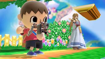 Aldeano guardando el espectro de Zelda en su bolsillo SSBU.png