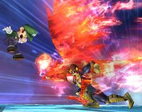 Captain Falcon usando Gancho de fuego en Super Smash Bros. Brawl.