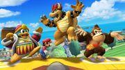 Rey Dedede, Mario, Bowser y Donkey Kong en el escenario Isla de Pilotwings SSB4 (Wii U).jpg