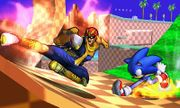Captain Falcon y Sonic en la Zona Green Hill SSB4 (3DS).jpg