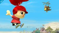 El aldeano usando el Casco de globos en Super Smash Bros. for Wii U
