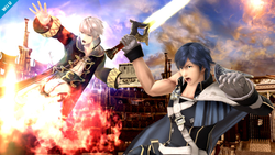 Daraen y Chrom atacando en Super Smash Bros. for Wii U