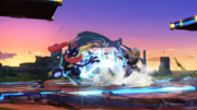Sheik cargando Tormenta de cuchillas y Greninja cargando Shuriken de agua SSB4 (Wii U).png