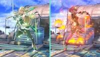 Pyra y Mythra usando Cambio en Super Smash Bros. Ultimate