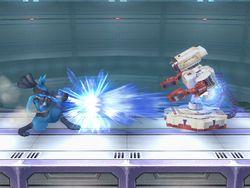 Ejemplo de superficie metálica. También cuenta el escenario de tipo eléctrico del Estadio Pokémon 2.