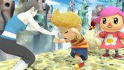 La Entrandora Wii Fit, Lucas y Aldeana en Reino Champión U SSB4 (Wii U).jpg