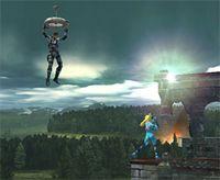 Snake usando el Cypher en Super Smash Bros. Brawl
