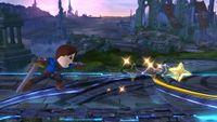 Espadachín Mii lanzando una estrella ninja en Super Smash Bros. para Wii U