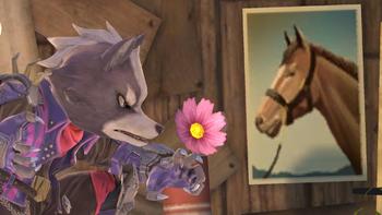 Wolf con una flor junto a una foto de un caballo SSBU.png