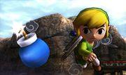 Toon Link lanzando una bomba en el Desierto Gerudo SSB4 (3DS).jpg